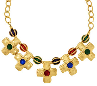 """As Is"" Linea by Louis Dell' Olio Fluted Bead Cross Necklace - J346359"