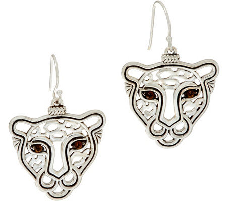 JAI Sterling Silver Leopard Drop Earrings