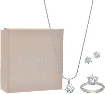 Diamonique Jewelry Set, Sterling, Boxed - J348159
