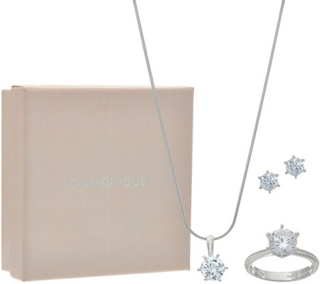 Diamonique Necklace, Ring and Earrings Set, Sterling Boxed