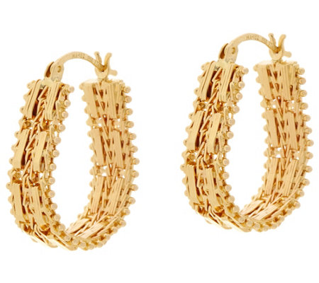 "Imperial Gold Mirror Bar 1"" Hoop Earrings 14K Gold"