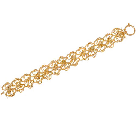 "Italian Gold 8"" Woven Double Row Bracelet 14K Gold, 12.2g"