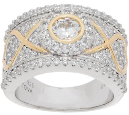 TOVA for Diamonique Two-Tone Band Ring, Sterling