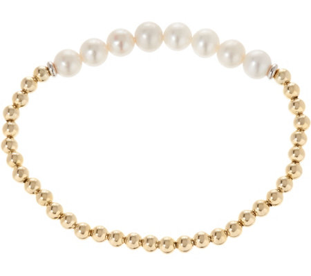 """As Is"" Honora Cultured Pearl & Sterling Bead Small Stretch Bracelet"