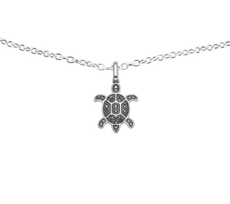 Reversible Turtle Pendant, Sterling, 1/7 ctt w,by Affinity