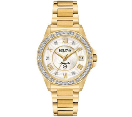Bulova Women's Diamond Goldtone Marine Star Watch