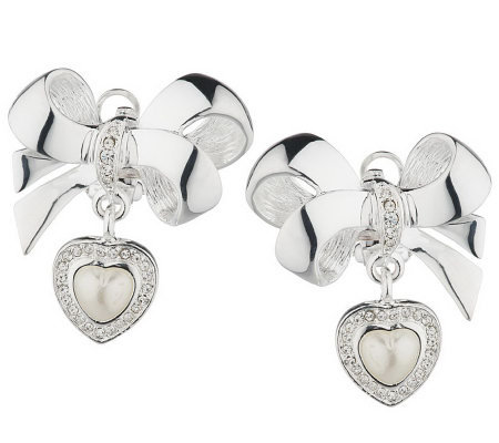First Lady's Jewelry Collection Bow & Heart Drop Earrings