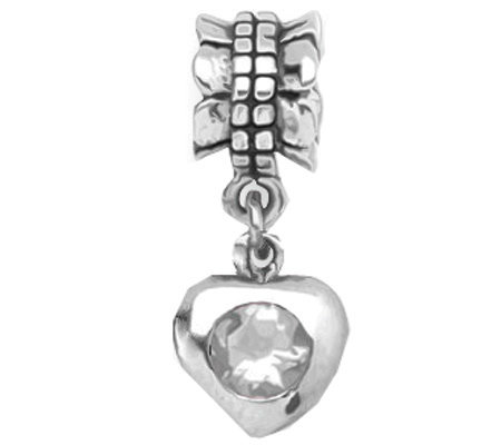 Prerogatives Sterling Cubic Zirconia Heart Dangle Bead