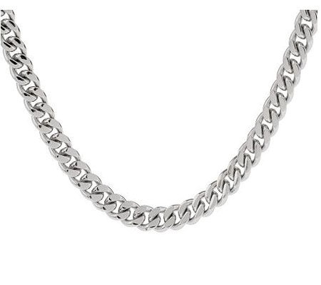 "Forza Solid 20"" Curb Necklace, Stainless Steel"