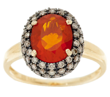 Premier 1.40cts Red Fire Opal & Champagne Diamond Ring 14K Gold