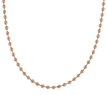 "Bronze 16"" Bold Diamond Cut Bead Chain Necklace by Bronzo Italia"