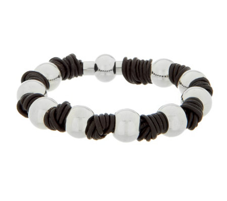 Stainless Steel Polished Bead Leather Knot Bracelet