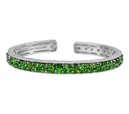 Judith Ripka Sterling 6.20cttw Chrome Diopside Hinged Cuff