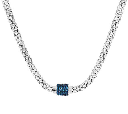 Stainless Steel Popcorn Chain Necklace w/ Pave' Magnetic Clasp