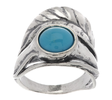 Or Paz Sterling Turquoise Leaf Design Ring