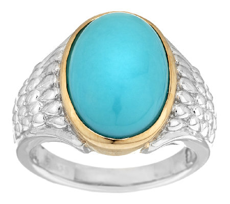 Sleeping Beauty Turquoise Sterling/14K Polished & Textured Ring