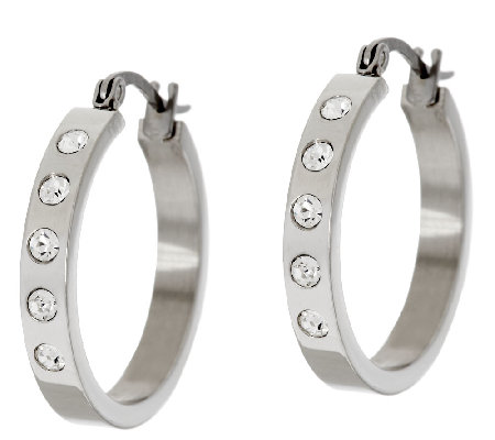 "Stainless Steel Choice of 1"" or 2"" Crystal Station Hoop Earrings"