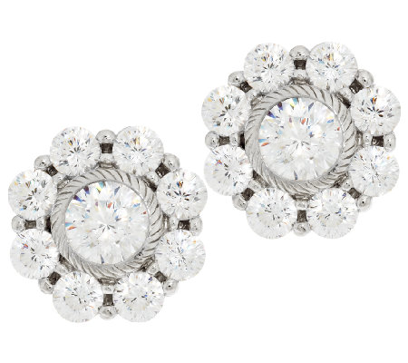 Judith Ripka Sterling 118 Facet Diamonique Stud Earrings