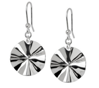 UltraFine Silver Wavy Disc Dangle Earrings - J299060