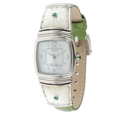 Ecclissi Sterling Carved MOP Floral Strap Watch