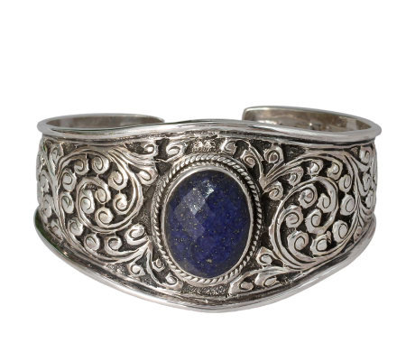 "Novica Artisan Crafted Sterling ""Lapis Leaves""Cuff"
