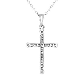 Diamond Fascination Sterling Silver Cross Pendant with Chain - J309960