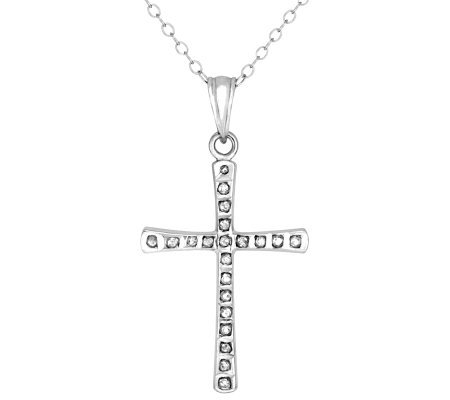 Diamond Fascination Sterling Silver Cross Pendant with Chain