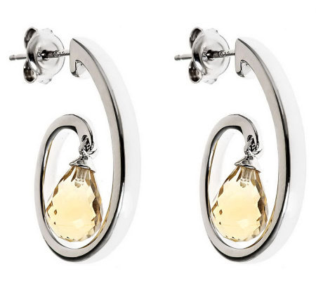 Sterling Oval with Drop Gemstone Earring