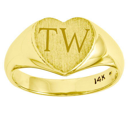 Personalized Satin Heart Signet Ring, 14K Gold