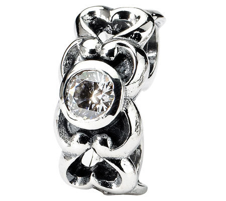 Prerogatives Sterling Heart Simulated Diamond Connector Bead