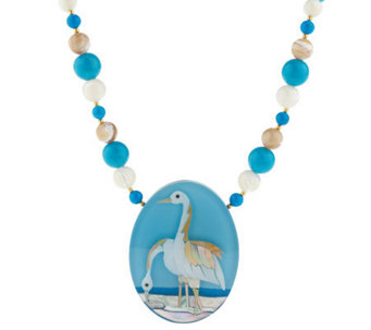 "Lee Sands 18"" Gemstone Crane Inlay Necklace - J313860"