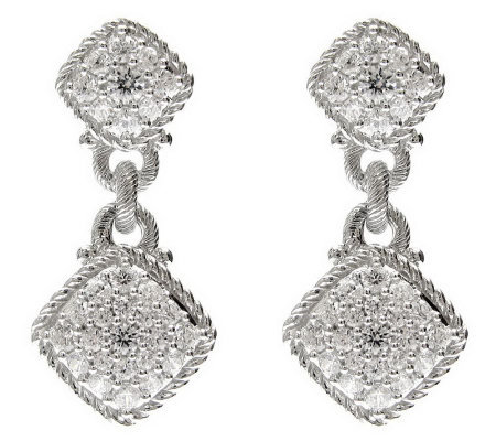 Judith Ripka Sterling 1.25ct Diamonique Pave Earrings