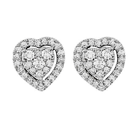 Diamond Heart Cluster Stud Earrings, 14K, 4/10cttw by Affinit