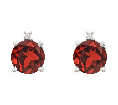 Sterling Silver Round Gemstone & Diamond AccentStud Earrings