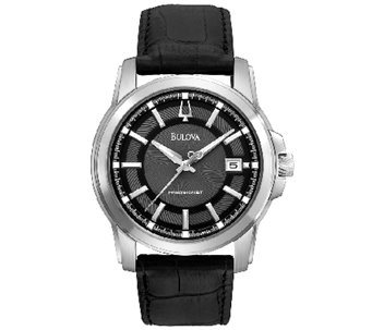Bulova Men's Precisionist Black Leather Strap Watch - J316460