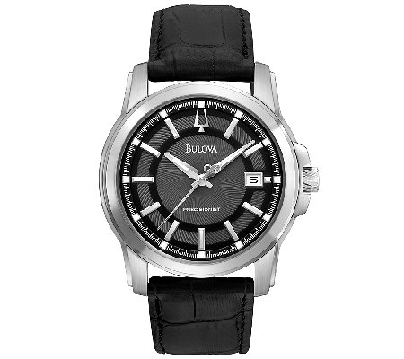 Bulova Men's Precisionist Black Leather Strap Watch