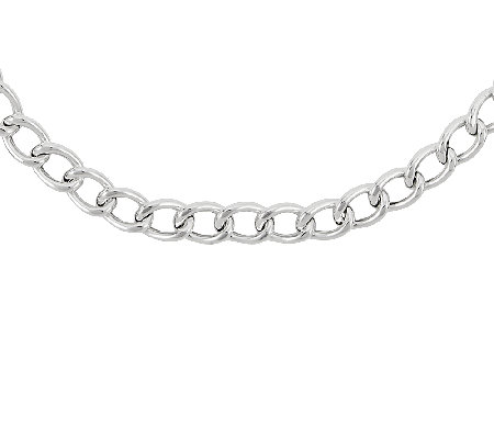 "Sterling Silver 20"" Polished Curb Chain Necklace"