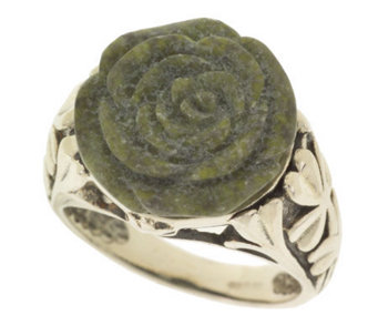 Connemara Marble Sterling Silver Carved Rose Ring - J316760