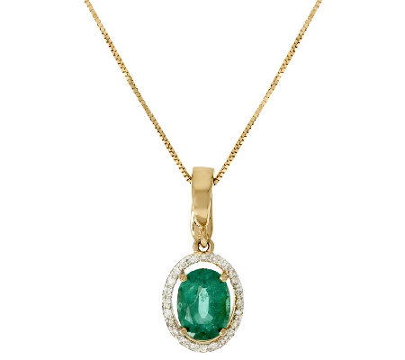 1.00 ct Zambian Emerald & Diamond Pendant w/