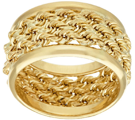 14K Gold Bold Triple Wrapped Rope Band Ring