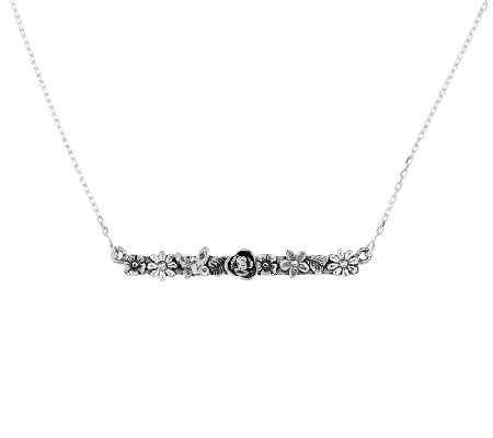 Sterling Silver Garden Design Bar Necklace by Or Paz