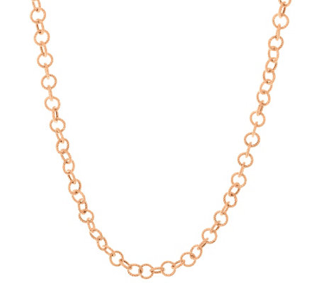 "Judith Ripka Sterling & 14K Clad 36"" Verona Circle Link Necklace"