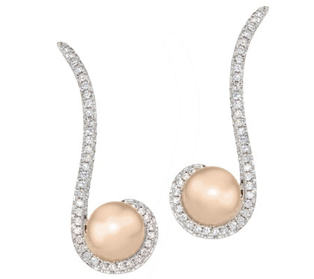 Honora Cultured Pearl Crystal Bronze Ear Climber Earrings
