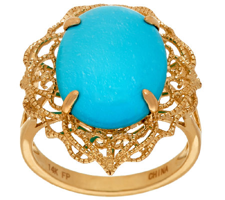 Sleeping Beauty Turquoise Filigree Design Ring 14K Gold