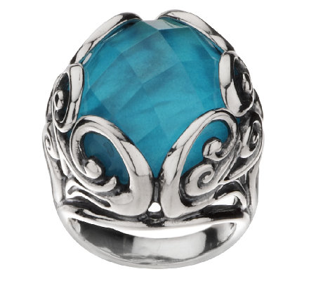 """As Is"" Carolyn Pollack Teal Mother-of-Pearl Doublet Ring"