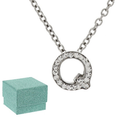 """As Is"" Stainless Steel Mini-Initial Crystal Pendant with Chain"
