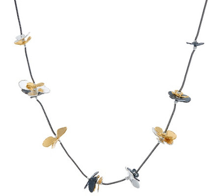 "Sterling Silver 24"" Flower Station Necklace by Or Paz"