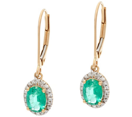 Oval Zambian Emerald & Diamond Drop Earrings, 14K 1.00 cttw