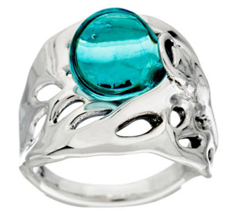 Kalos by Hagit Sterling Silver Blue Glass Ring - J328460