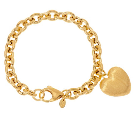 """As Is""Veronese 18K Clad Heart Dangle Rolo Charm Bracelet"